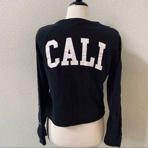 VICTORIAS SECRET PINK black CALI crop sweater XS